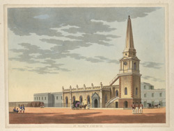 'St Mary's Church, Fort St George, Madras'.  Drawn and engraved by J.W. Gantz, Vepery, 1841.
